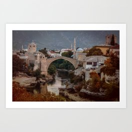 An Old bridge in Mostar Art Print