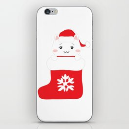 Cat in xmas sock iPhone Skin
