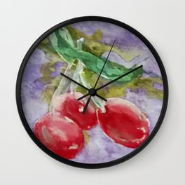 Red Cherries on Purple watercolor by CheyAnne Sexton Wall Clock
