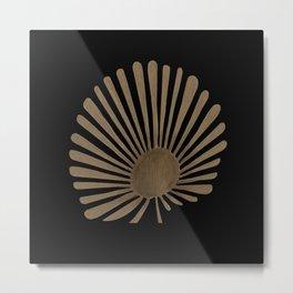 Gold Fan Palm Leaf Metal Print