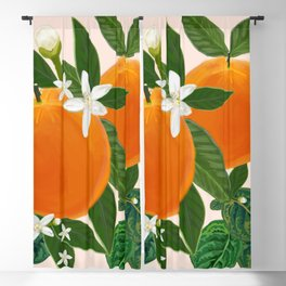 Fruits Orange and Flowers Pattern Blackout Curtain