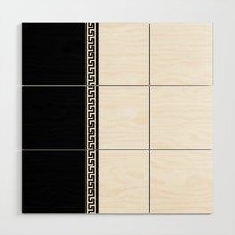 Greek Key 2 - White and Black Wood Wall Art