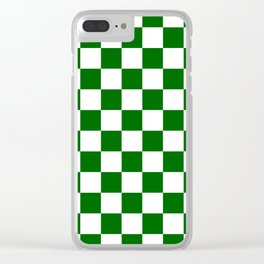 Checkered - White and Dark Green Clear iPhone Case