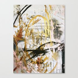 Armor [9]:a bright, interesting abstract piece in gold, pink, black and white Canvas Print