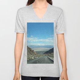 Mountain Road in Palm Springs California Unisex V-Neck