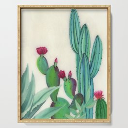 Desert Calm - Blooming Cactus painting by Ashey Lane Serving Tray