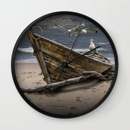 Gulls Flying over a Shipwrecked Wooden Boat Wall Clock
