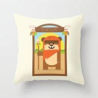 ewok Throw Pillows featuring Esok Ewok by Gary  Ralphs Illustrations