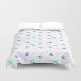 Watercolor Floral Print (blue + violet) Duvet Cover