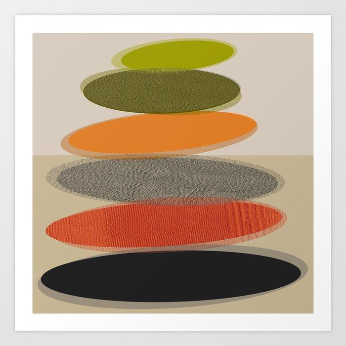 Mid-Century Modern Ovals Abstract Kunstdrucke