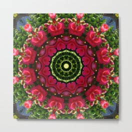 Happy Valentine's Day, Flower Mandala, Red blossoms with hearts Metal Print