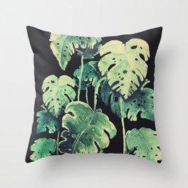 black tropical leaves Throw Pillow