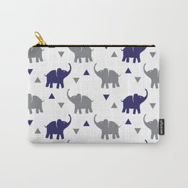 Elephants & Triangles - Gray / Navy Blue Carry-All Pouch