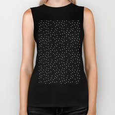 Pin Point Polka White on Black Repeat Biker Tank