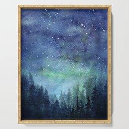 Watercolor Galaxy Nebula Northern Lights Painting Serving Tray