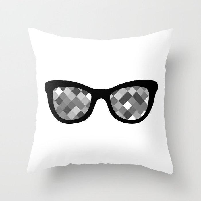 Diamond Eyes Black and White Throw Pillow