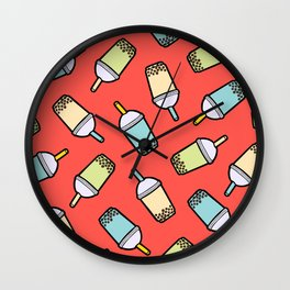 Bubble Tea Pattern in Red Wall Clock
