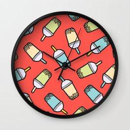 Bubble Tea Pattern in Red Wall Clock