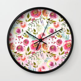 blush pink peonies watercolor fuchsia flowers Wall Clock