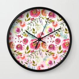 blush pink peonies watercolor fuchsia flowers Wall Clock