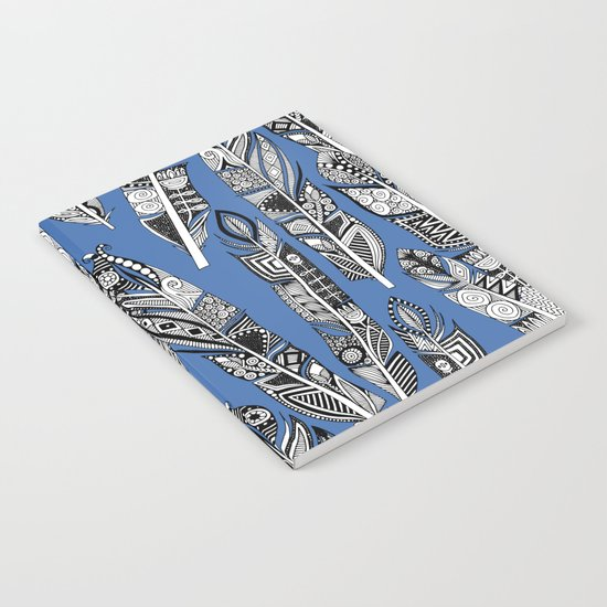 geo feathers blue Notebook