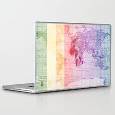 Rainbow World Map Laptop & iPad Skin