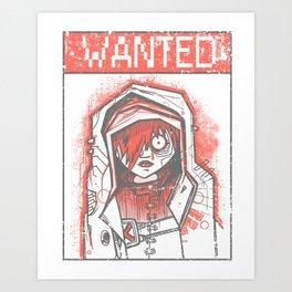 wanted girl Art Print