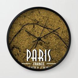 Paris France Map Poster Wall Clock