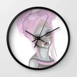 Pink circus clown girl Wall Clock