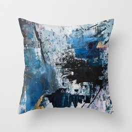 Breathe: colorful abstract in black, blue, purple, gold and white Throw Pillow