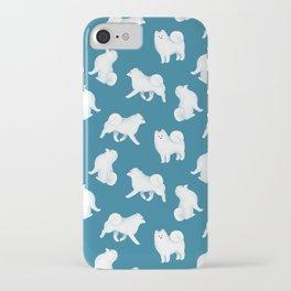 Samoyed Pattern (Blue Background) iPhone Case