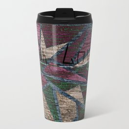 The old boards . The pattern on the old boards and burning . With Love . Travel Mug