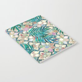 Muted Moroccan Mosaic Tiles with Palm Leaves Notebook