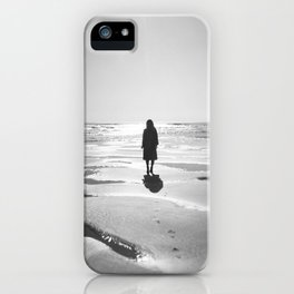 Silhouette in the Sunshine in Black and White - Oregon Coast Film Photograph iPhone Case