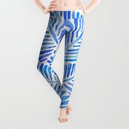Tropical Banana Leaves – Blue Palette Leggings
