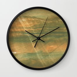 Brown green colored watercolor pattern Wall Clock