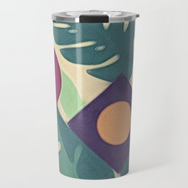 Monstera Leaves Diamond Abstract Maroon Dot Travel Mug