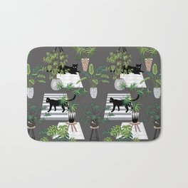 cats in the interior dark pattern Bath Mat