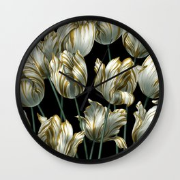 Winter Tulips in Gold. Wall Clock