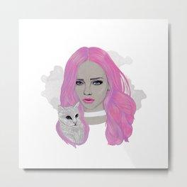 Pink & Kitten Metal Print