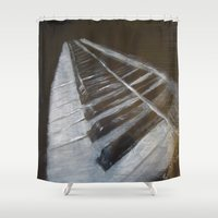 piano Shower Curtains featuring Piano by JSwartzArt