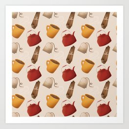 Brown Fall Style Tea and Coffee Art Print