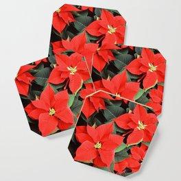 Beautiful Red Poinsettia Christmas Flowers Coaster