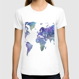 Watercolor World Map Silhouette T-shirt