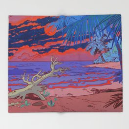 Orange Moon Throw Blanket