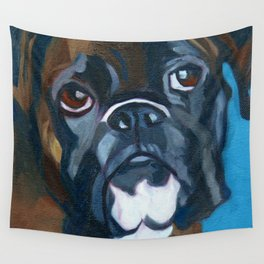 Boxer Lil E Dog Portrait Wall Tapestry