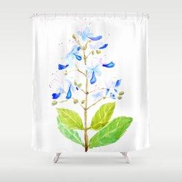 blue butterfly flowers watercolor Shower Curtain