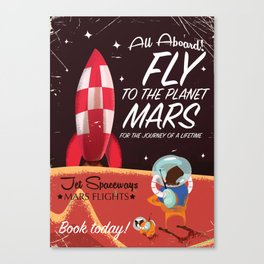 All Aboard! Travel to Mars vintage travel poster Canvas Print