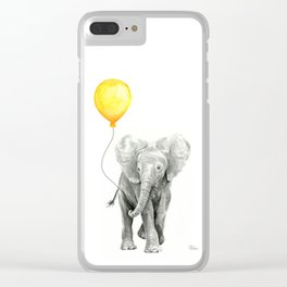 Elephant Watercolor Yellow Balloon Whimsical Baby Animals Clear iPhone Case