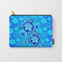 Blue Tropical Flowers And Honu Turtles Carry-All Pouch